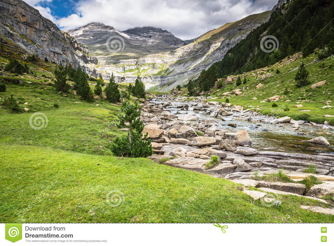Mountains In The Pyrenees, Ordesa Valley National Park, Aragon.