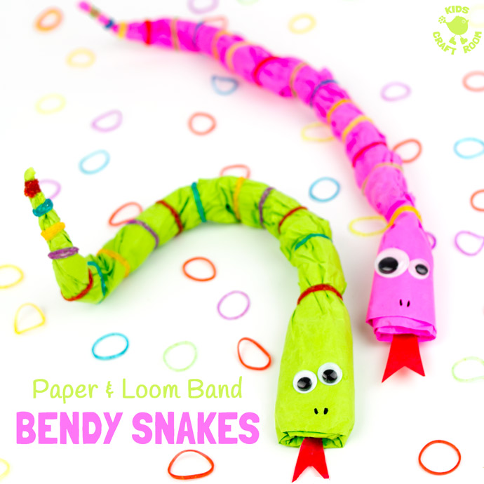 Bendy Paper & Loom Band Snake Craft.