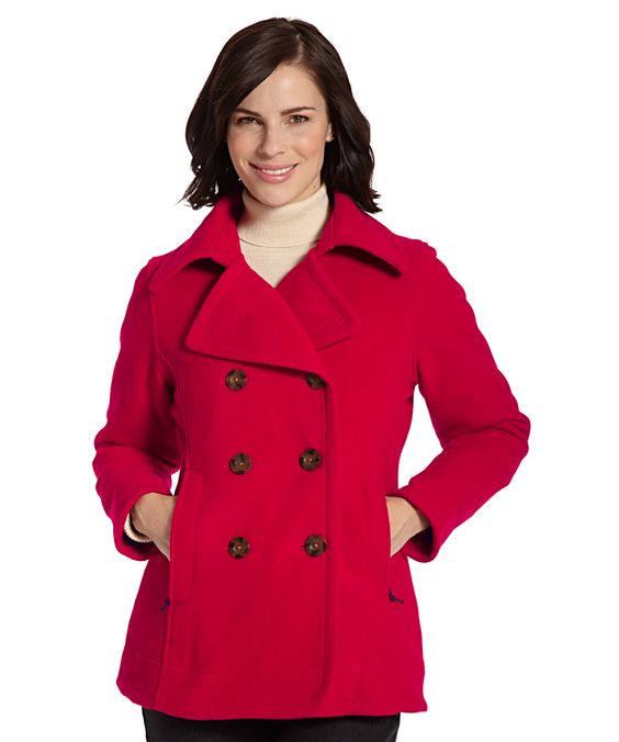 Women's Vista Red Pea Coat at Woolrich.com #winteriscoming.
