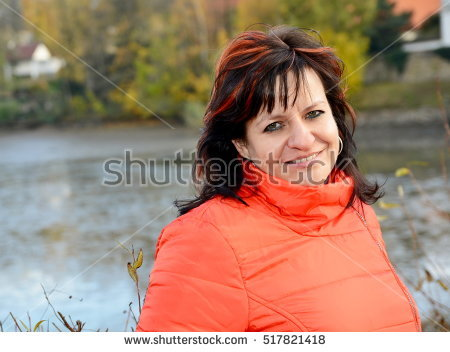 Portrait Smilling Middle Aged Ordinary Caucasian Stock Photo.