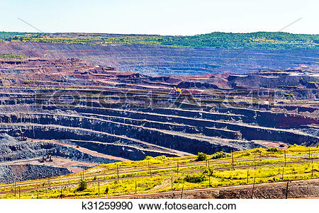 Stock Photography of Iron ore mining in Mikhailovsky field within.