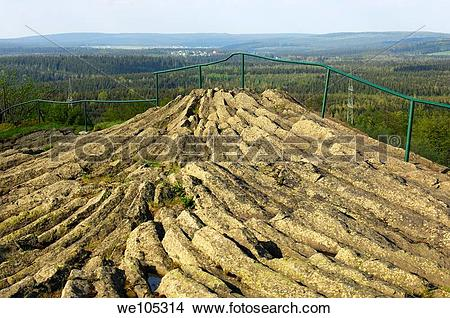 Stock Photo of Outcrop of horizontal columnar basalt, geotope.