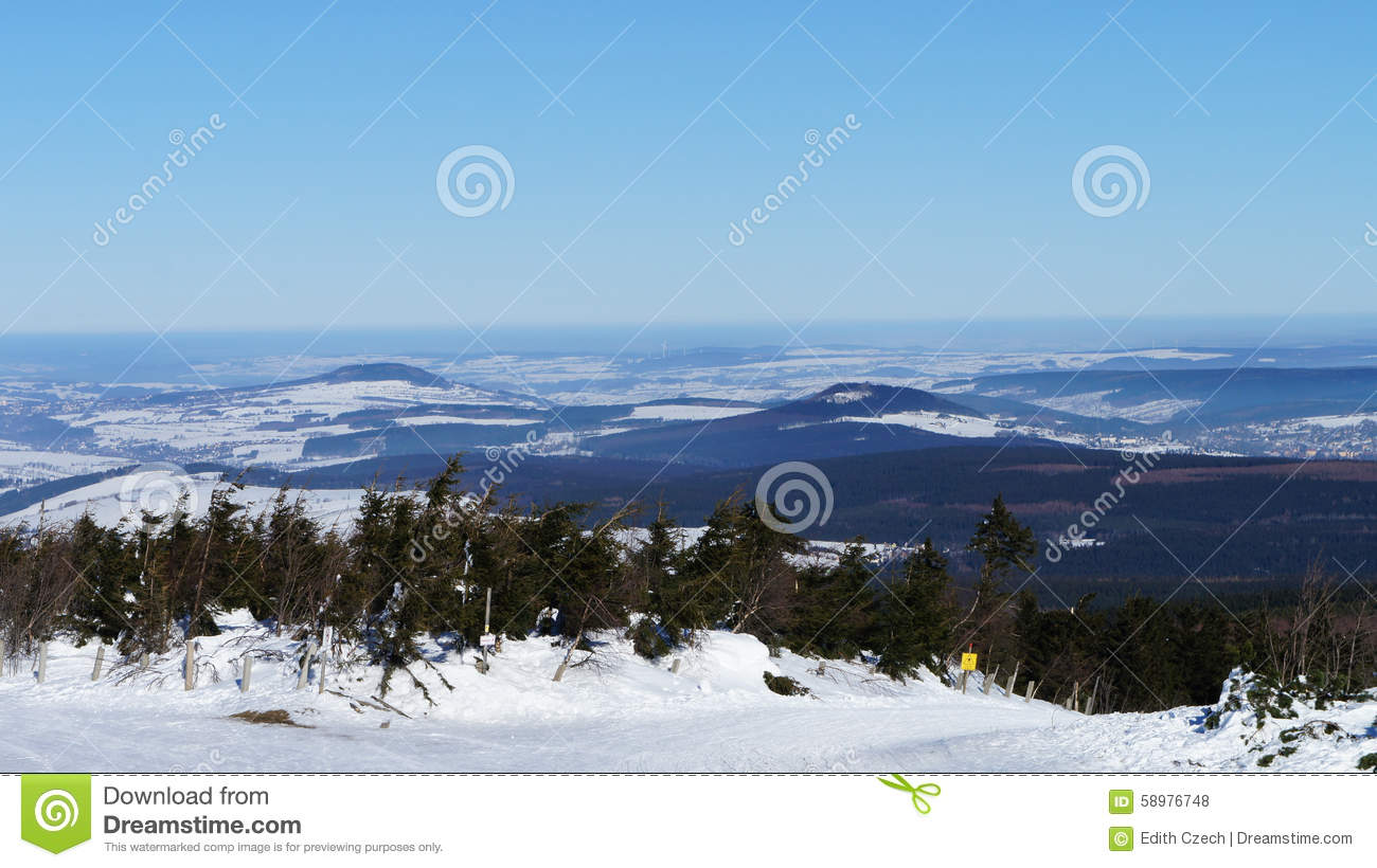 The Ore Mountains In Winter Stock Photo.