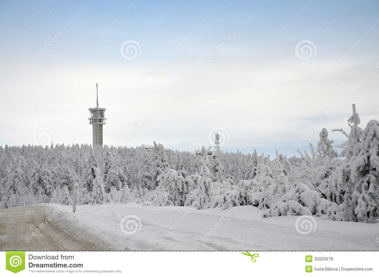 Ore Mountains Klínovec In Winter Royalty Free Stock Photos.
