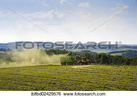 "Stock Images of ""Harvester in action on a field, Wolkenstein, Ore."