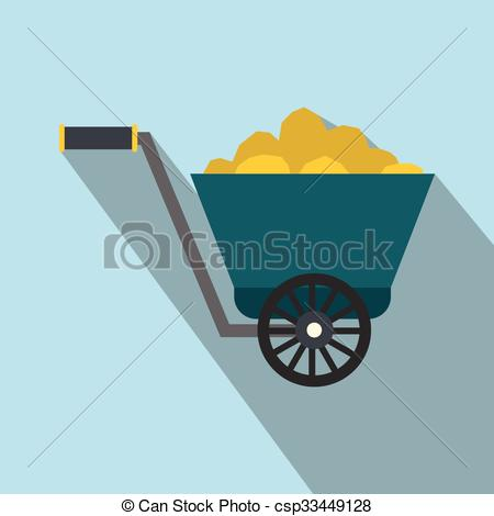 Vector Illustration of Trolley with gold ore flat icon on a light.