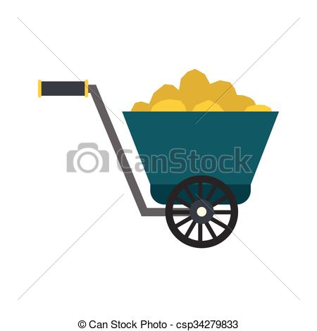 Vectors of Trolley with gold ore flat icon isolated on white.