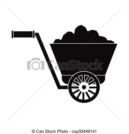 EPS Vectors of Trolley with ore on rails vector illustration.