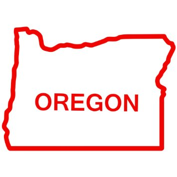 Red Outline Of Oregon.