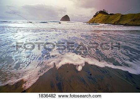Stock Photo of Haystack Rock, Cape Kiwanda, Oregon Coast, Oregon.
