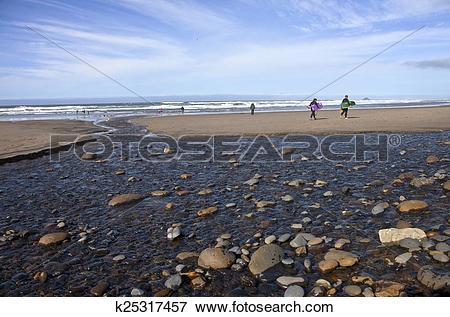 Stock Illustration of Oregon coast beach activities and surf.