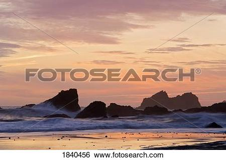Stock Images of Sunset, Southern Oregon Coast, Harris Beach State.