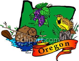 Oregon State Bird, Flower, and Animal on Oregon Map.