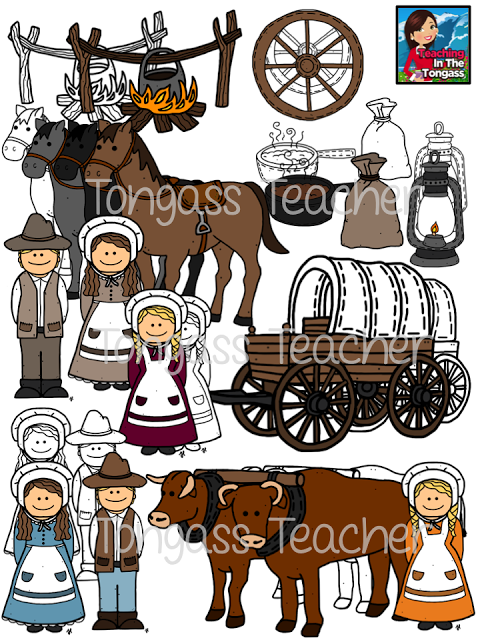 pioneer oregon trail clipart bundle.