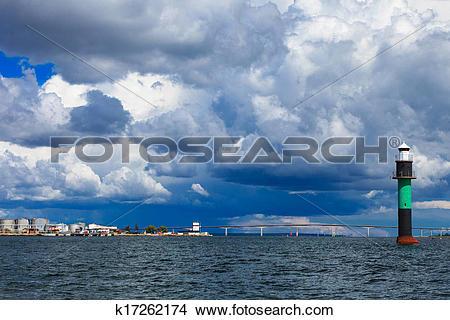 Stock Photo of Buoy. Oresundsbron. Oresund bridge link Denmark.