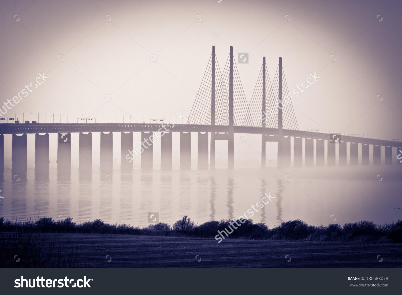 Bridge Oresundsbron Between Denmark Sweden Recording Stock Photo.