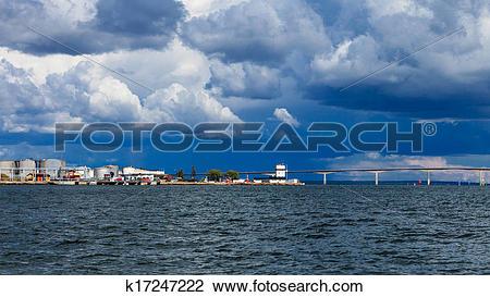 Stock Photo of Oresundsbron. Oresund bridge link Denmark Sweden.