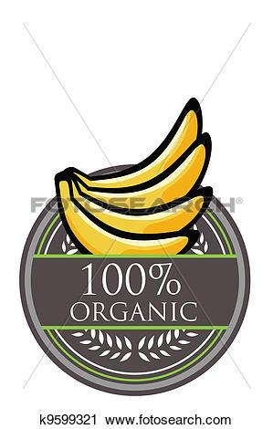 Clipart of Banana Organic label k9599321.
