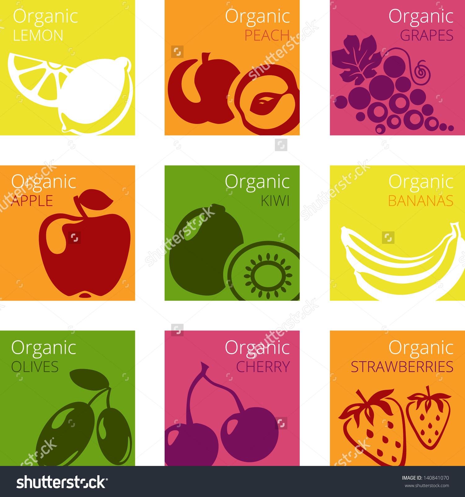 Vector Illustration Of Organic Fruits Labels: Kiwi, Bananas.