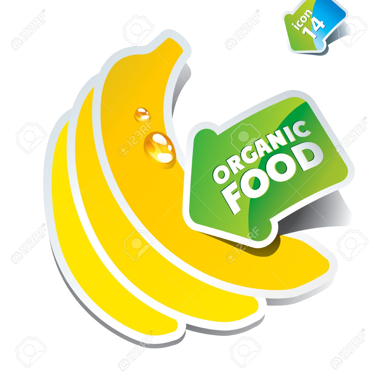 Icon Bananas With An Arrow By Organic Food. Vector Illustration.