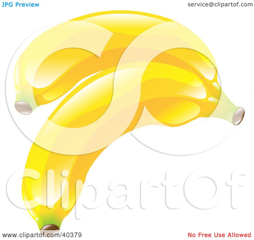 Clipart Illustration of Shiny Organic Yellow Bananas by.