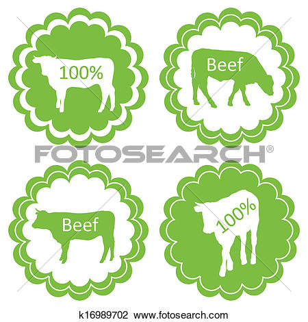 Clipart of Farm animals market ecology organic beef meat label.