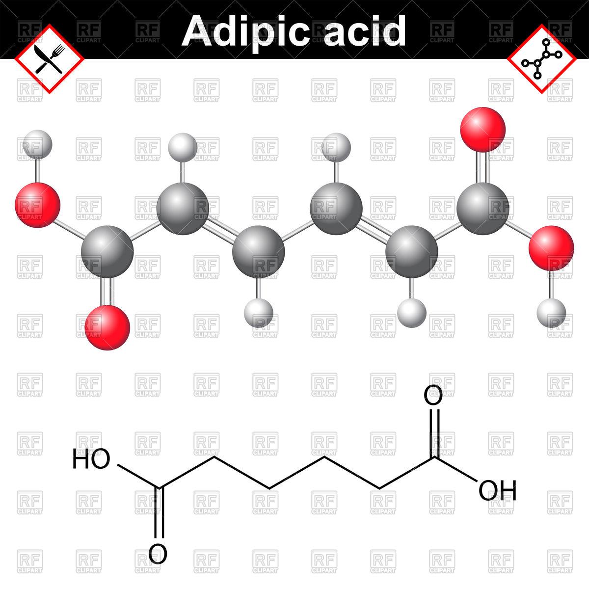 Adipic acid chemical formula.
