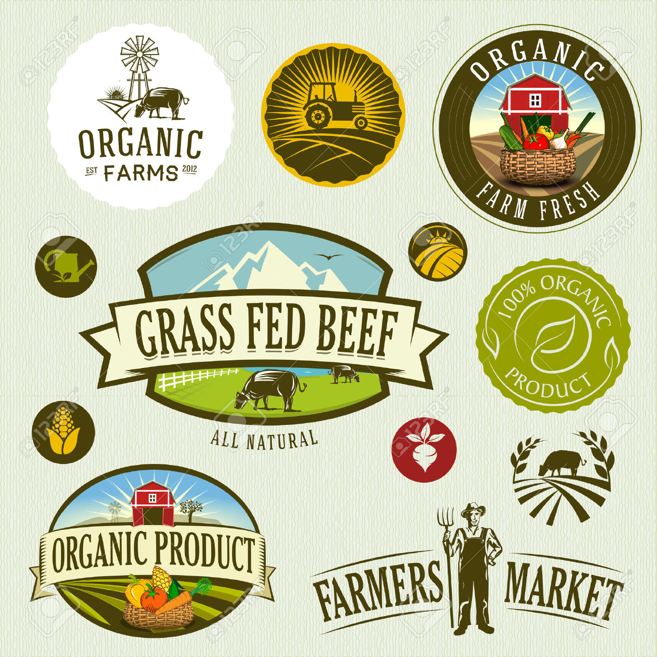 53,865 Organic Farm Stock Vector Illustration And Royalty Free.