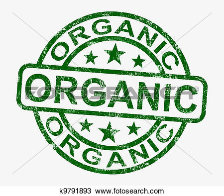 Drawing of Organic Stamp Shows Natural Farm Food k9791893.