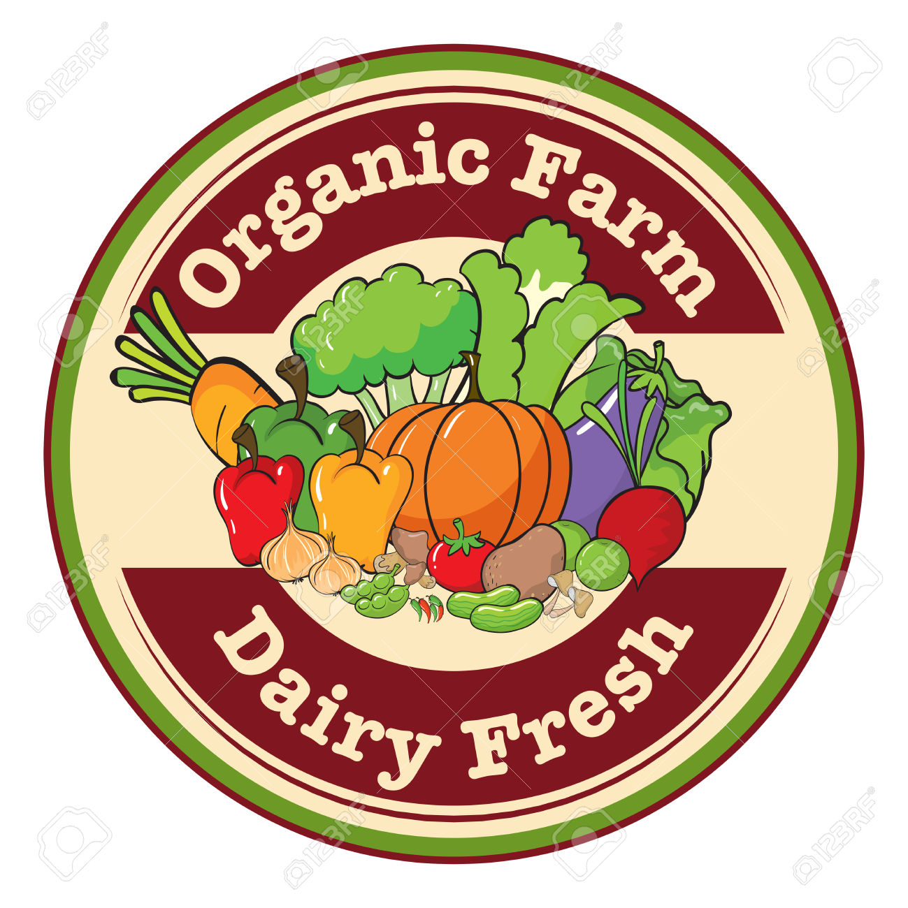 Illustration Of A Round Template With An Organic Farm And Dairy.