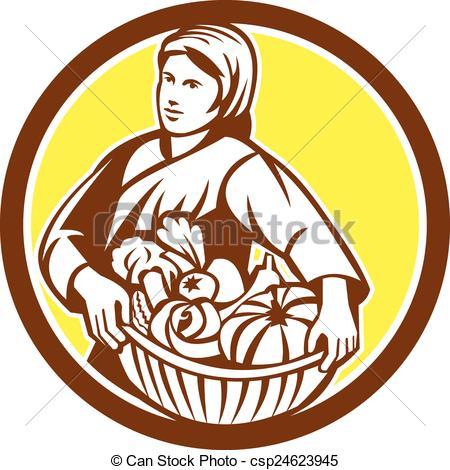 EPS Vector of Female Organic Farmer Basket Harvest Retro.