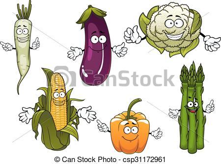 Clip Art Vector of Cartoon organic farm vegetables characters.