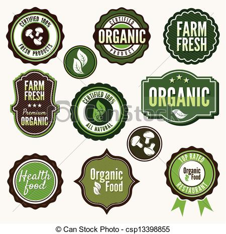 Clipart Vector of Set of organic and farm fresh food badges and.