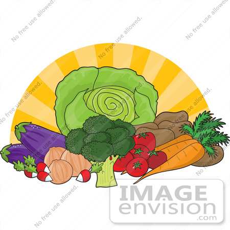 Clip Art Graphic of The Sun Bursting Behind Fresh And Organic.
