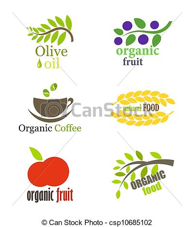 Vector Clipart of Organic food labels.