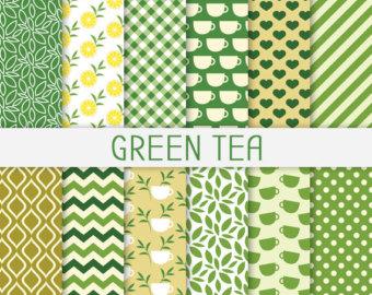 Green Tea Digital Paper with Lemon, Tea Leaf Background, Organic.