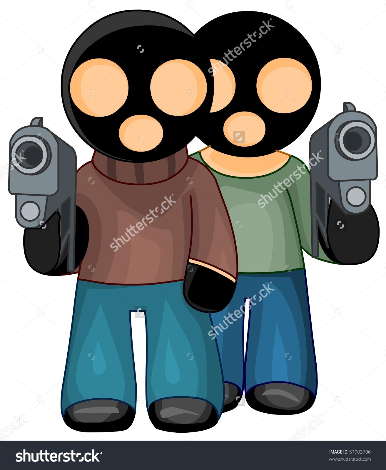 Criminals Black Masks Guns Isolated Stock Illustration 57903706.