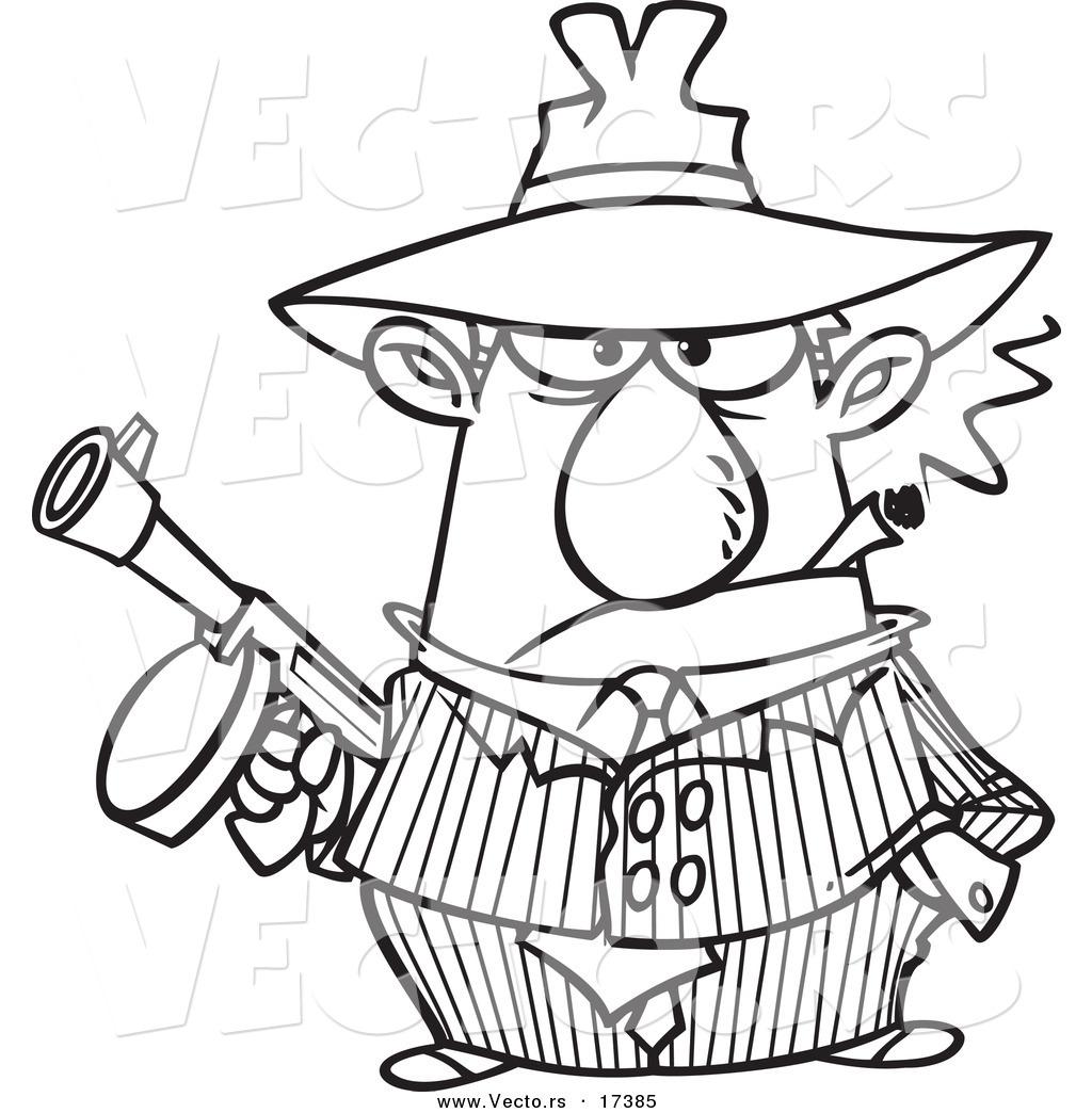 Vector of a Cartoon Gangster Holding a Gun and Smoking a Cigar.