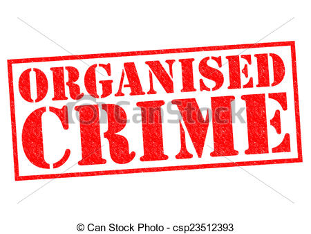 Stock Illustration of ORGANISED CRIME red Rubber Stamp over a.