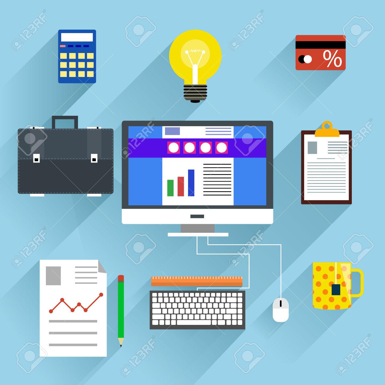 Organized computer desktop clipart.