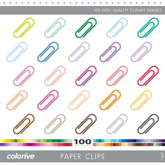 Paper Clips clipart 100 rainbow colors organize school fun vector.