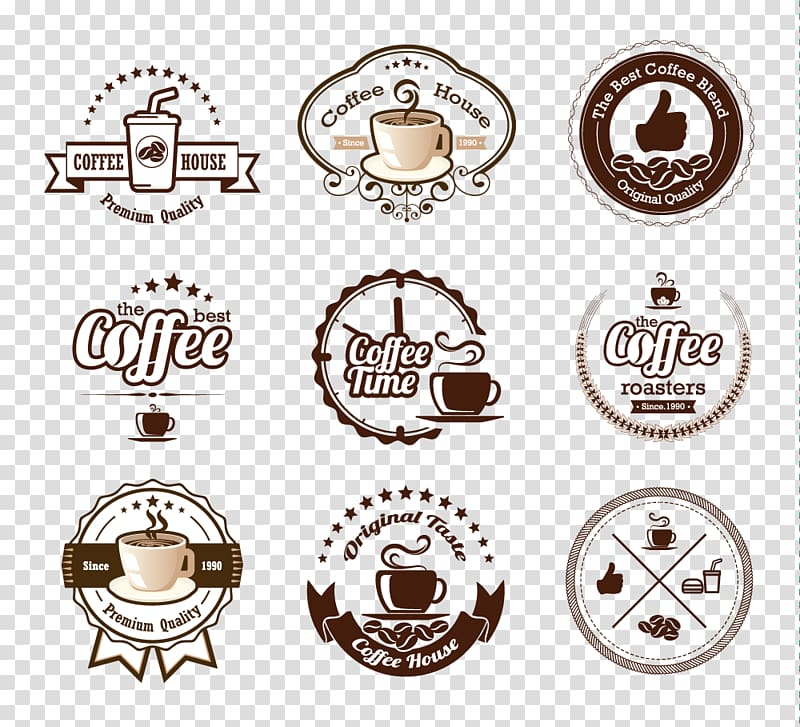 Assorted coffee logo , White coffee Cafe Iced coffee Coffee.