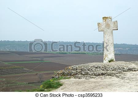 Stock Photos of Old stone moldavian orthodox cross in Orhei.
