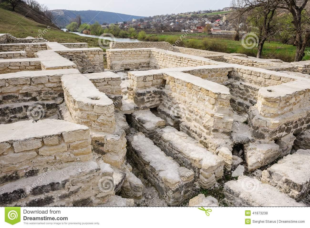 Ruins Of Public Bath, Old Orhei, Moldova Stock Photo.