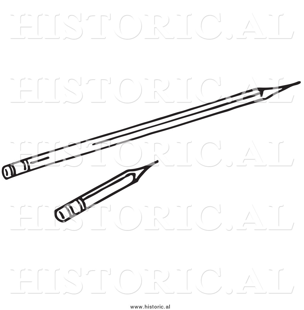 Historical Clipart of a Long and Short Pencils.