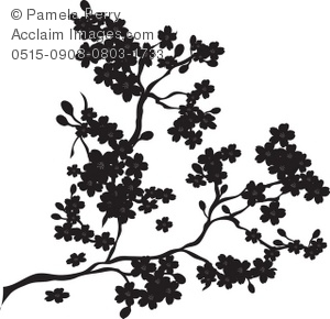 Clip Art Illustration of a Cherry Blossoms in Silhouette.