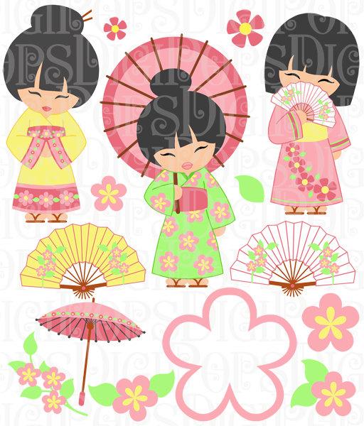 Oriental Girls Digital Clip Art Set.