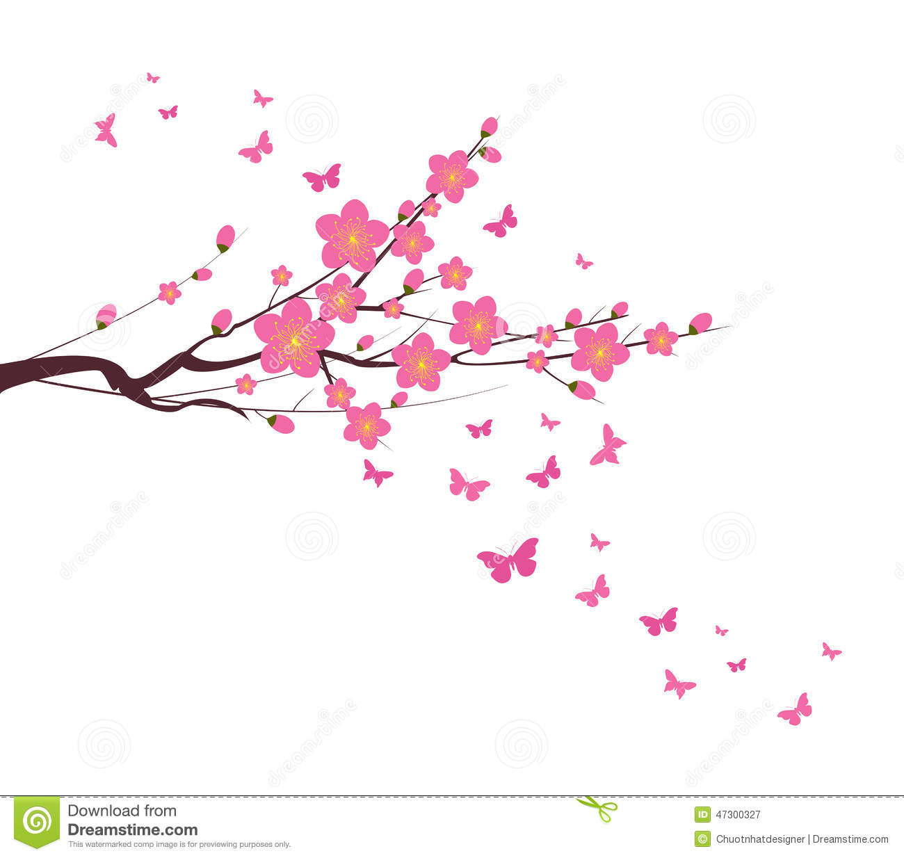 Oriental cherry blossom clipart.