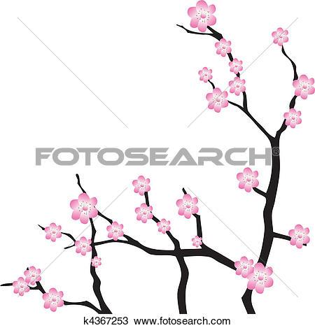 Clipart of Oriental cherry branch. Vector k4367253.