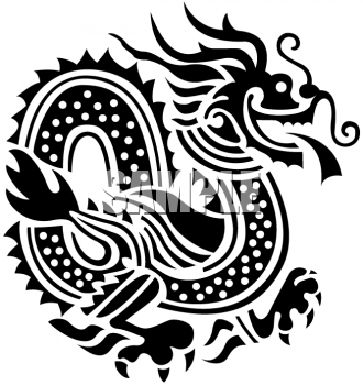 Oriental Asian Dragon in Black and White.